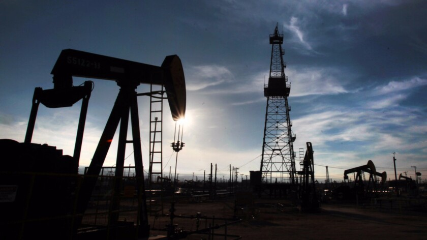 Oil pumps and drilling equipment in Kern County last year.