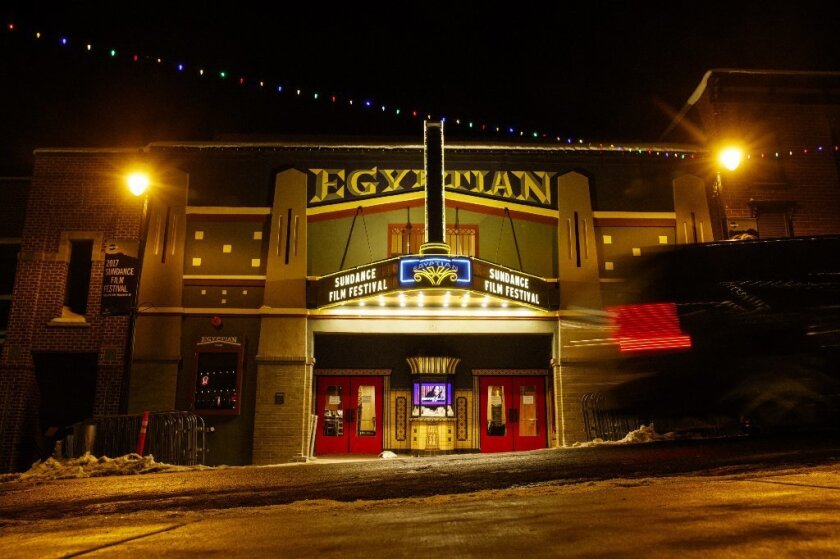The Egyptian Theatre on Main Street in Park City, Utah, is aglow as the start of the Sundance Film Festival approaches.