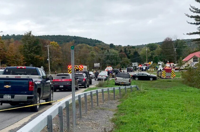 Scene of tragedy in Schoharie, N.Y., after 20 people were killed when a limo carrying a group on their way to celebrate a birthday upstate crashed on Oct. 6.