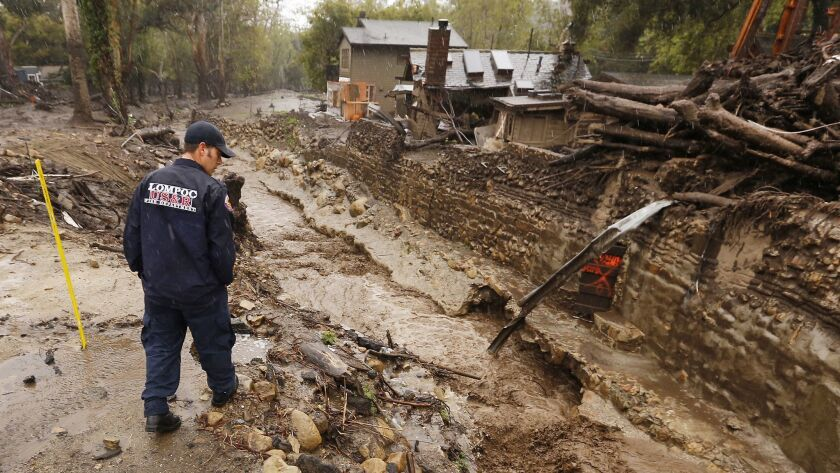 MONTECITO, CA - MARCH 21, 2018 - Lompoc Firefighter Chris Martinez who is with a Search and Rescue R