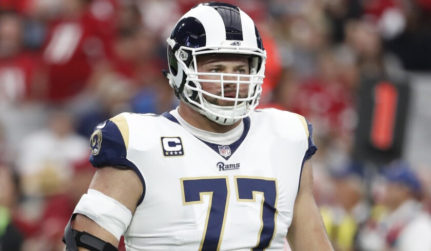 Tackle Andrew Whitworth will be the only Rams offensive linemen playing Sunday with veteran experience at his position.
