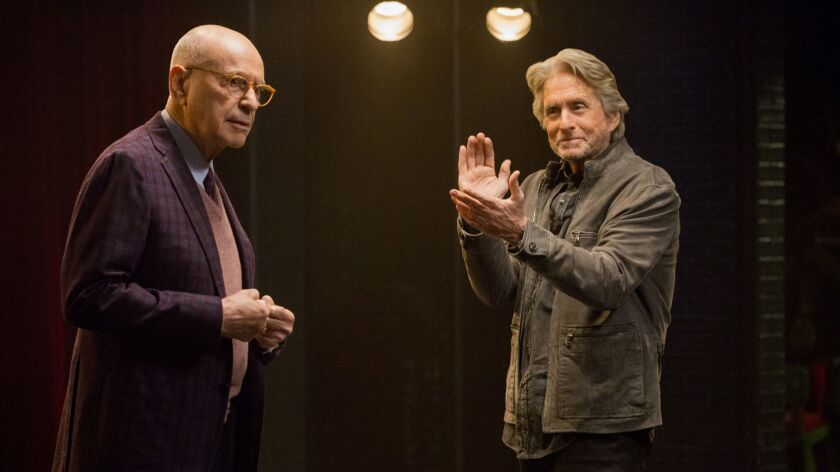 "Acting coach Sandy Kominsky (Michael Douglas, right) and close friend-agent Norman Newlander (Alan Arkin) navigate aging in youth-obsessed Hollywood in Netflix comedy ""The Kominsky Method"" by Chuck Lorre."
