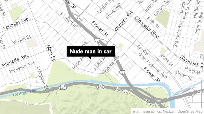 A nude man was caught on dashcam footage reportedly waving over an 11-year-old to his car in a Glendale parking lot last month, according to police.