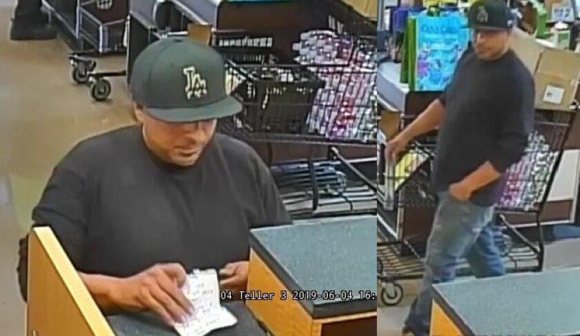 Surveillance photos show the man suspected of using a demand note during a robbery Tuesday afternoon at a grocery store bank branch in Alpine.