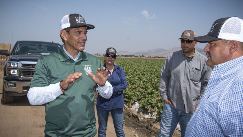 AUGUST 18, 2017. SALINAS, CA. Former Los Angeles mayor Antonio Villaraigosa, who announced his candi