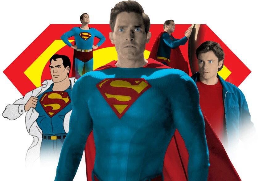 An illustration featuring some of the actors who have played Superman on TV over the years.