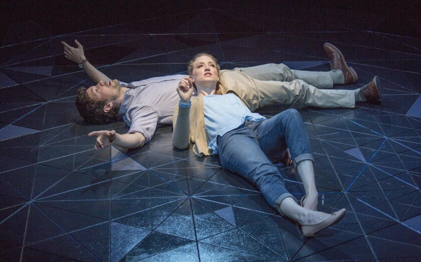 Christian Coulson stars as Roland and Victoria Frings as Marianne in Nick Payne's 'Constellations,' directed by Richard Seer, through May 8 at The Old Globe.