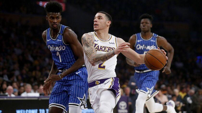 LOS ANGELES, CALIF. -- SUNDAY, NOVEMBER 25, 2018: Los Angeles Lakers guard Lonzo Ball (2) drives to