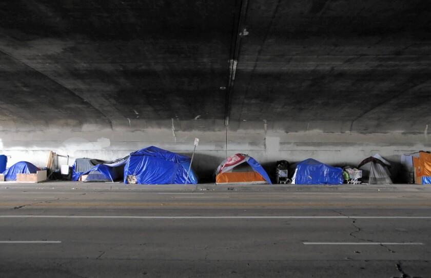 A tent encampment under the 101 Freeway on Alvarado Street near Echo Park.