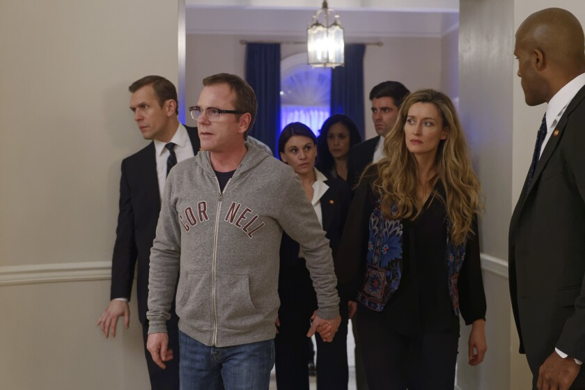 """Kiefer Sutherland, second from left, plays Tom Kirkman, who unexpectedly becomes president in ABC's new """"Designated Survivor."""""""