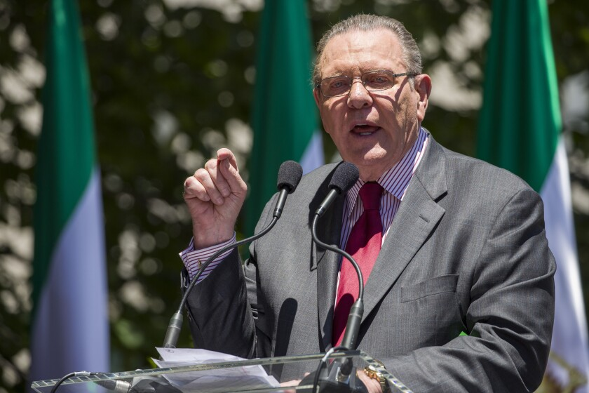 FILE - In this June 21, 2019, file photo former Vice Chief of Staff of the U.S. Army Gen. Jack Keane, speaks to activists gathered at the State Department in Washington. The White House says President Donald Trump will present the highest civilian honor he can bestow to Keane. (AP Photo/Alex Brandon, File)
