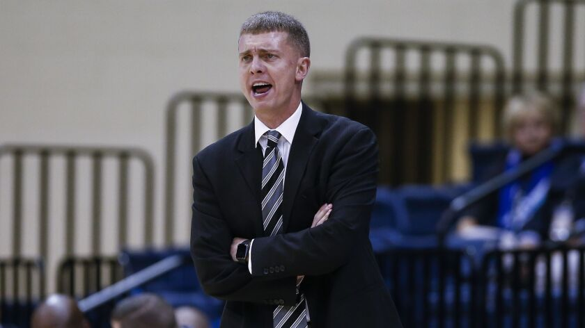 USD head coach Sam Scholl calls out during the first half against Northridge.