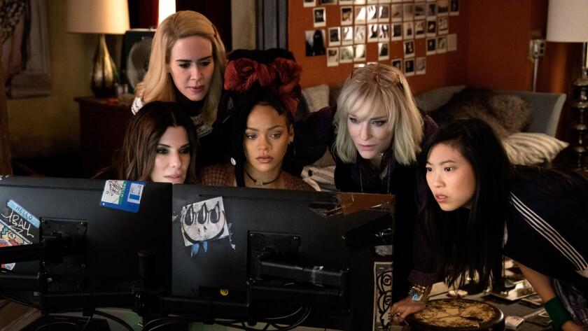 (L-R) SANDRA BULLOCK as Debbie Ocean, SARAH PAULSON as Tammy, RIHANNA as Nine Ball, CATE BLANCHETT a