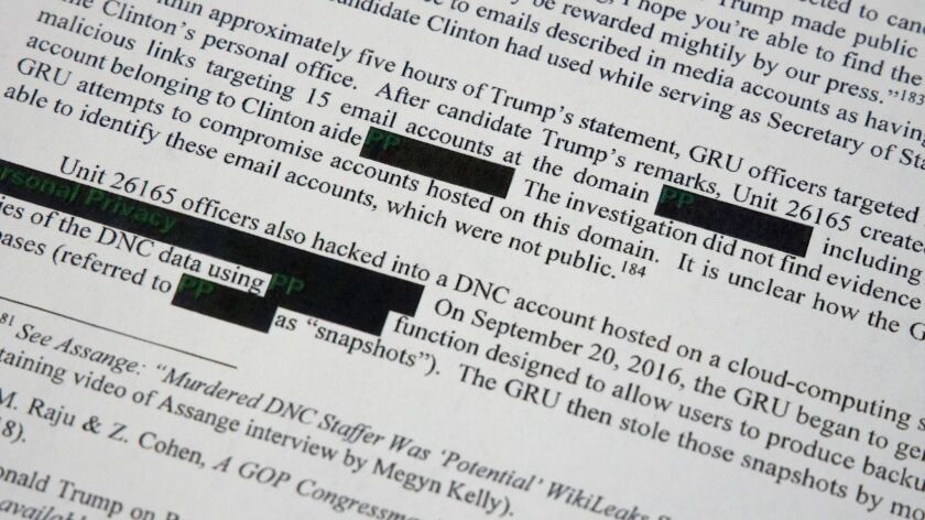 Special counsel Robert Mueller's redacted report on the investigation into Russian interference in t