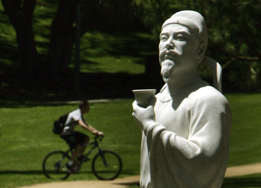 Immortalized in stone on the UC Irvine Campus, Chinese Poet Li Bai lived the life of a poor mountain recluse, drinking wine and writing poems.