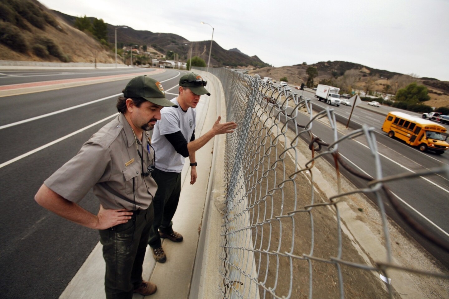 The National Park Service's Seth Riley, left, and Jeff Sikich stand at a wall overlooking the 101 Freeway at Liberty Canyon Road in Agoura Hills, where a mountain lion was fatally struck by a car in October 2013 while attempting to cross. The area is part of a critical wildlife corridor.