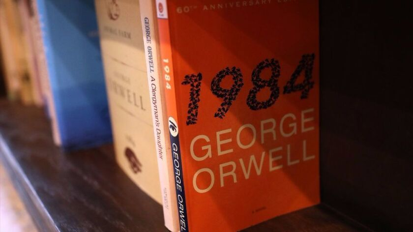 A copy of George Orwell's novel '1984' sits on a shelf at The Last Bookstore on January 25, 2017 in Los Angeles, California. Orwell's 68 year-old dystopian novel '1984' has surged to the top of Amazon.com's best seller list.