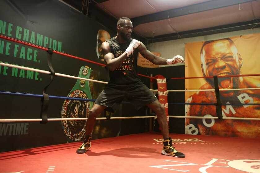 Deontay Wilder participates in a media workout at New Era Boxing & Fitness in Northport, Alabama on Nov. 5.