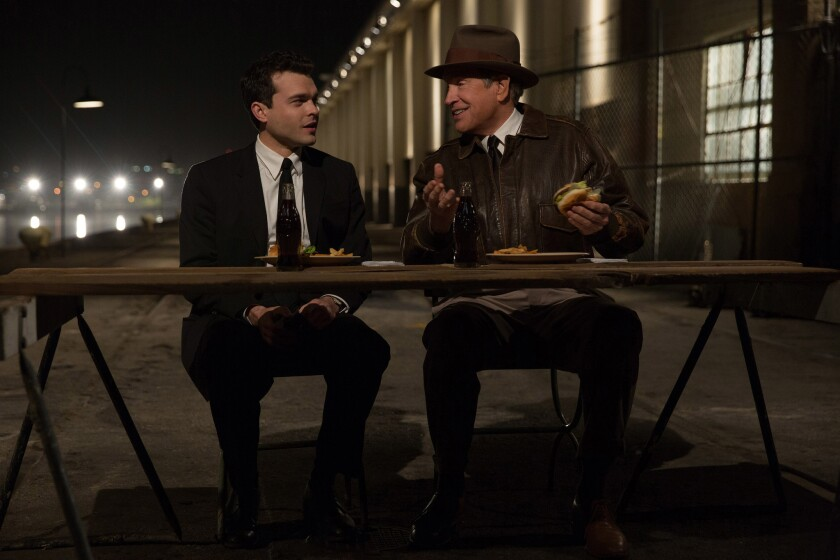 "Alden Ehrenreich as Frank Forbes and Warren Beatty as Howard Hughes in ""Rules Don't Apply."""