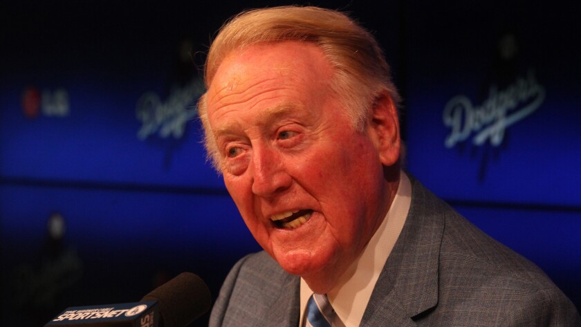 Vin Scully speaks at a news conference on July 30.