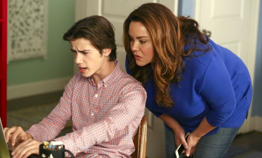 "Daniel DiMaggio and Katy Mixon in ""American Housewife"" on ABC."