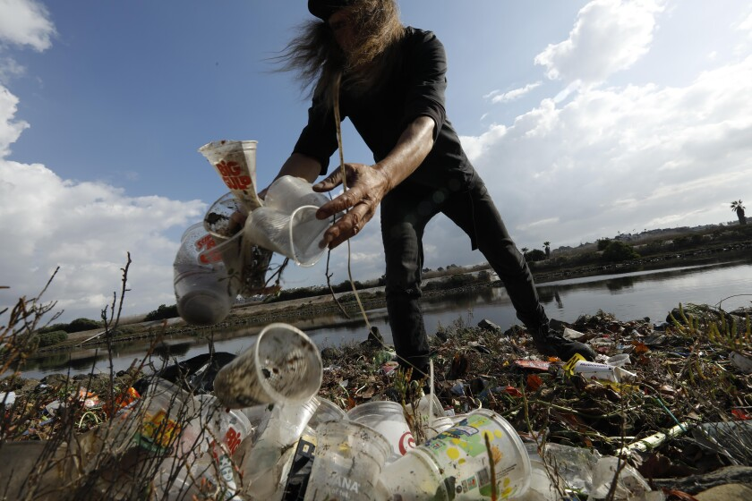 Trash along the Alamitos Peninsula in Long Beach