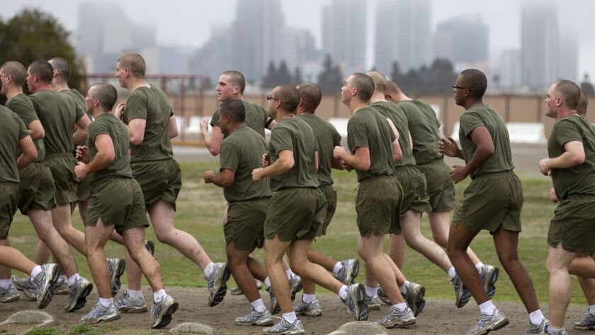Dec. 20, 2010, San Diego, Ca.. -- Newly arrived Marine recruits from Hotel Company, 2nd Battalion, R