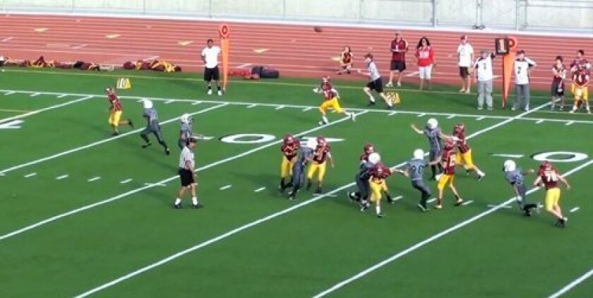 On Sept. 8, the Jr Midget Falcons (D2) of Torrey Pines defeated the Oceanside Pirates 27-8 at El Camino High School.