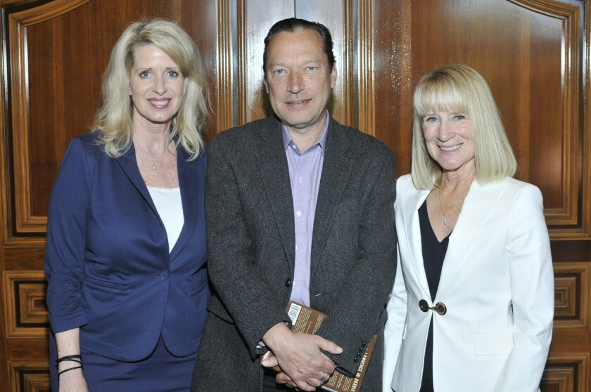 Rancho Santa Fe Literary Society Chapter leader Kelly Colvard, author Scott Anderson, Chapter President Candace Humber.  Photo by McKenzie Images