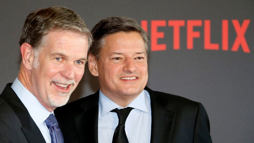 Netflix co-founder and CEO Reed Hastings, left, and Chief Content Officer Ted Sarandos in 2016.