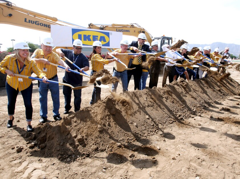 IKEA employees and city officials throw the ceremonial dirt as construction begins for the new IKEA in Burbank on Tuesday, Sept. 1, 2015. When completed, the new 456,000 sq. ft. store, on 22 acres on San Fernando Rd., will be the largest one in the United States.
