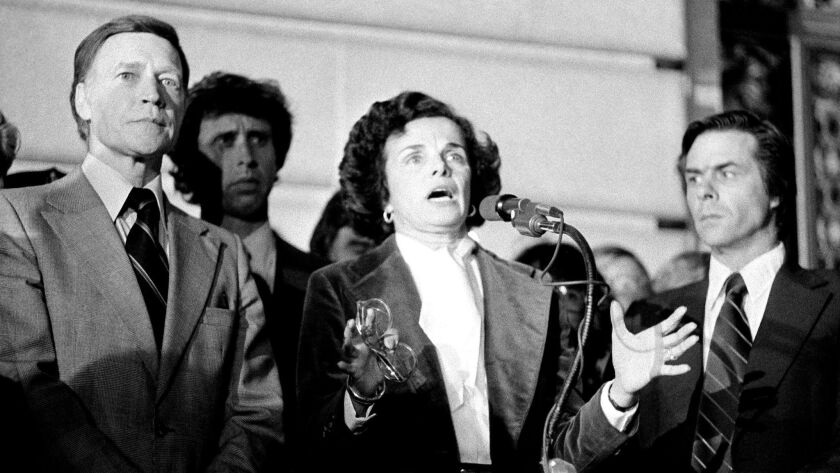 Feinstein's push for gun control has new relevance this year as she seeks reelection in her toughest battle yet. Above, she speaks in 1978 in the aftermath of the assassinations of San Francisco Supervisor Harvey Milk and Mayor George Moscone.
