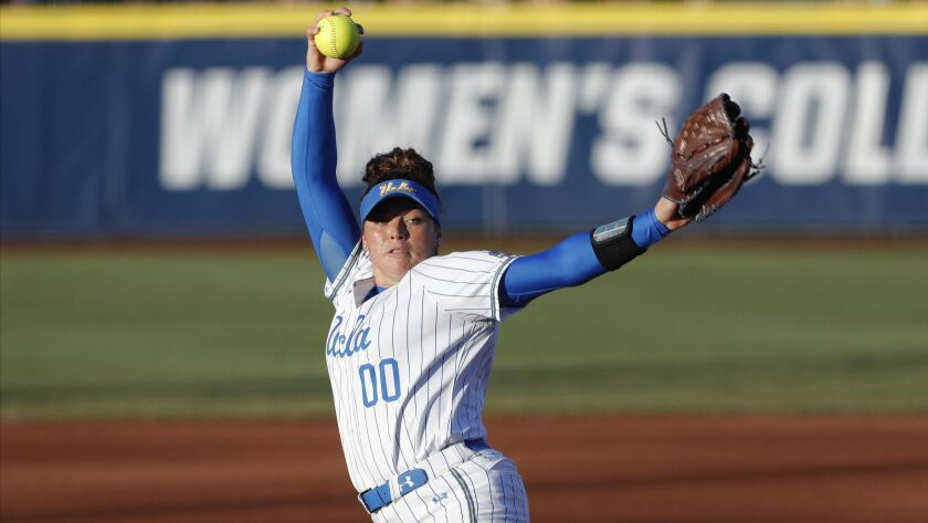 UCLA pitcher Rachel Garcia pitches against Oklahoma during the first inning of Game 2 of the best-of-three championship series in the Women's College World Series in Oklahoma City on Tuesday.