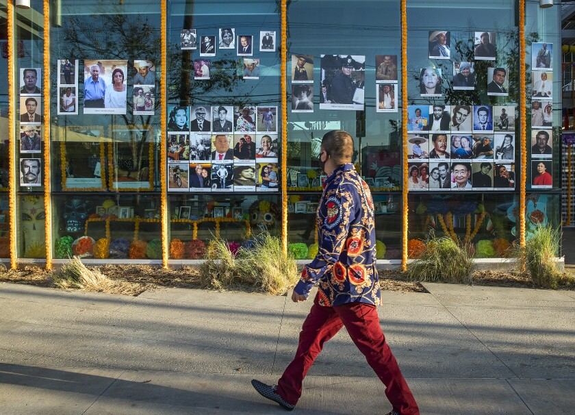 Photos of COVID victims cover the glass walls and a Day of the Dead memorial display inside an office.