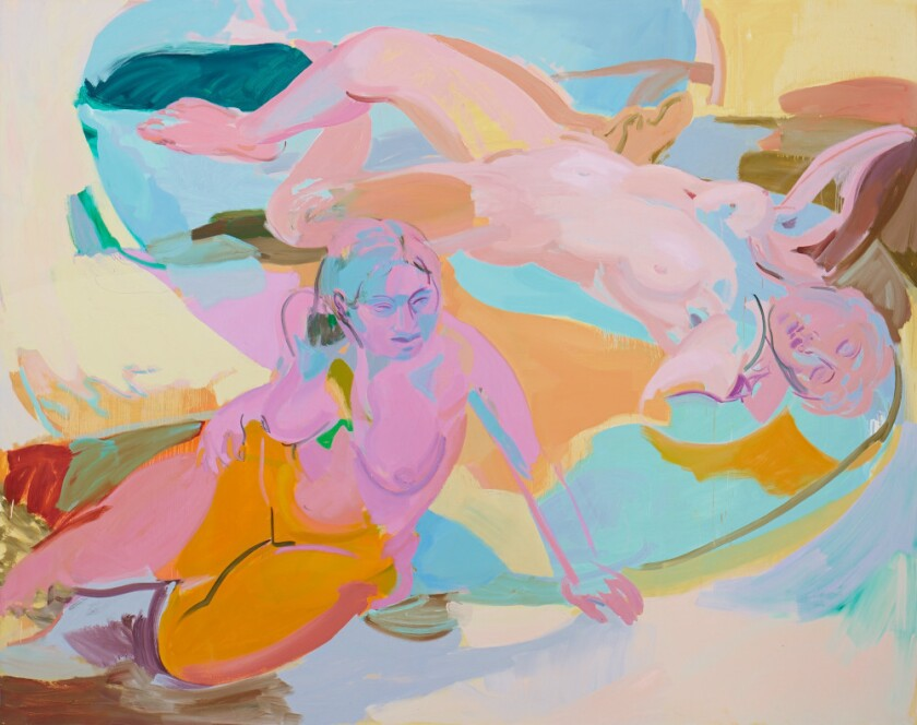 """Sarah Awad """"Untitled (Reclining Women),"""" 2013 oil on linen 75 x 95 inches"""