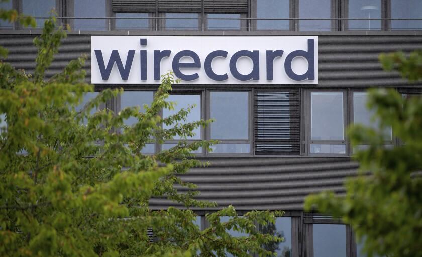 En esta imagen del viernes 19 de junio de 2020, el logo de Wirecard en la sede del proveedor de servicios de pago en Aschheim, Alemania. (Sven Hoppe/dpa via AP)