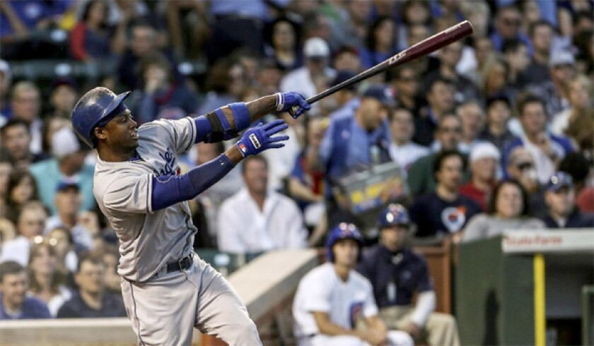 Hanley Ramirez drives in two runs in the third inning of the Dodgers' 6-4 victory over the Chicago Cubs at Wrigley Field on Thursday.