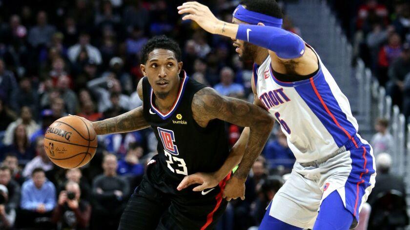 Los Angeles Clippers guard Lou Williams (23) drives against Detroit Pistons guard Bruce Brown (6) du