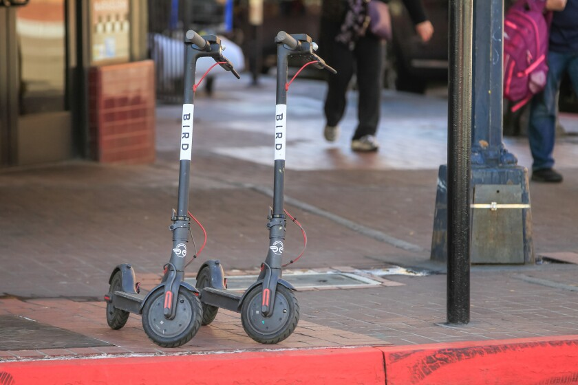 Bird scooters in downtown San Diego in 2018