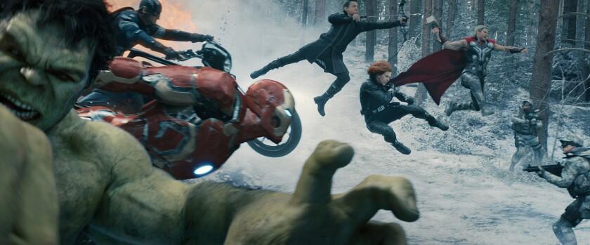 "Hulk (Mark Ruffalo), Captain America (Chris Evans), Iron Man (Robert Downey Jr.), Hawkeye (Jeremy Renner), Black Widow (Scarlett Johansson) and Thor (Chris Hemsworth) do battle in ""Avengers: Age of Ultron"" and leave behind a big mess."