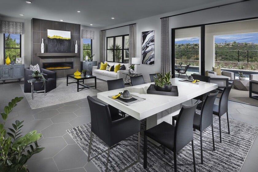 Vista Del Mar in Pacific Highlands Ranch has single-family homes with Irving Gill-inspired architecture and open floor plans ranging from approximately 3,903-4,508 square feet.