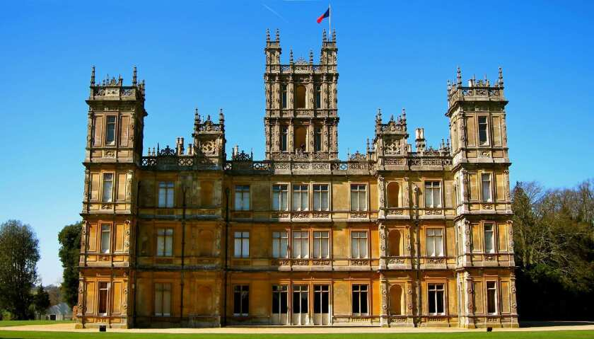 Highclere Castle, the real-life Downton Abbey, in England. Not one of the homes for sale, but you get the idea.