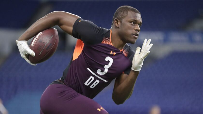 Deandre Baker runs a drill at the NFL scouting combine in Indianapolis on March 4, 2019.