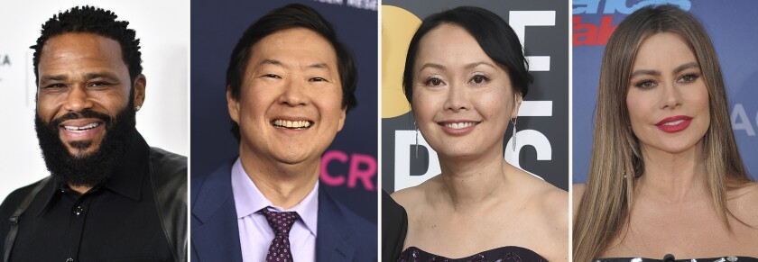 """In this combination photo, Anthony Anderson, from left, attends the premiere of Dave Chappelle's untitled documentary on June 19, 2021, in New York, Ken Jeong attends An Unforgettable Evening on Feb. 27, 2020 in Beverly Hills, Calif., Tran Ho arrive at the 76th annual Golden Globe Awards on Jan. 6, 2019, in Beverly Hills, Calif. and Sofia Vergara attends """"America's Got Talent"""" season 15 red carpet on March 4, 2020, in Pasadena, Calif. The four will host the seventh Stand Up to Cancer telethon. The hourlong special airs on Saturday, Aug. 21, 2021. (AP Photo)"""