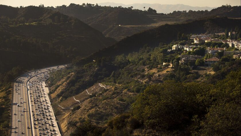 LOS ANGELES, CA. -- WEDNESDAY, JUNE 17, 2015: Traffic streams into the Sepulveda Pass right below t