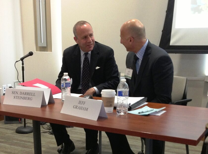 Sen. Darell Steinberg chats with Civic San Diego President Jeff Graham at San Diego Foundation forum on post-redevelopment options.