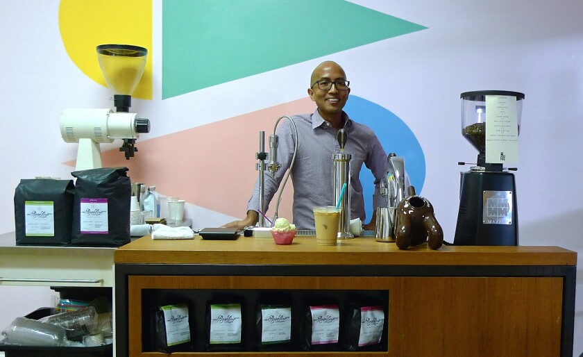 Jack Benchakul of Cognoscenti Coffee moved his coffee cart to Scoops Chinatown.