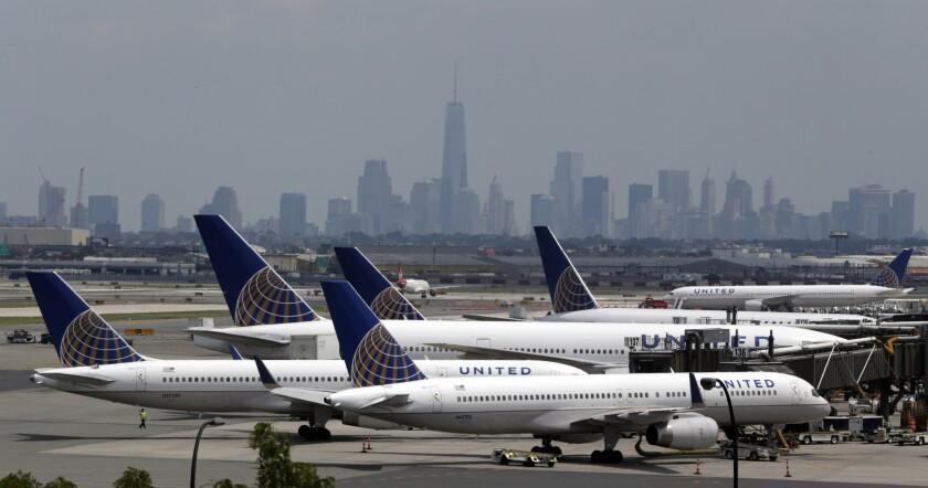 Esta foto del 22 de julio del 2014 muestra aviones de United en el aeropuerto internacional Liberty de Newark, Nueva Jersey. Todos los vuelos de United Continental en Estados Unidos quedaron detenidos el 8 de julio del 2015 debido a problemas de computadoras.(AP Foto/Julio Cortez, Archivo)