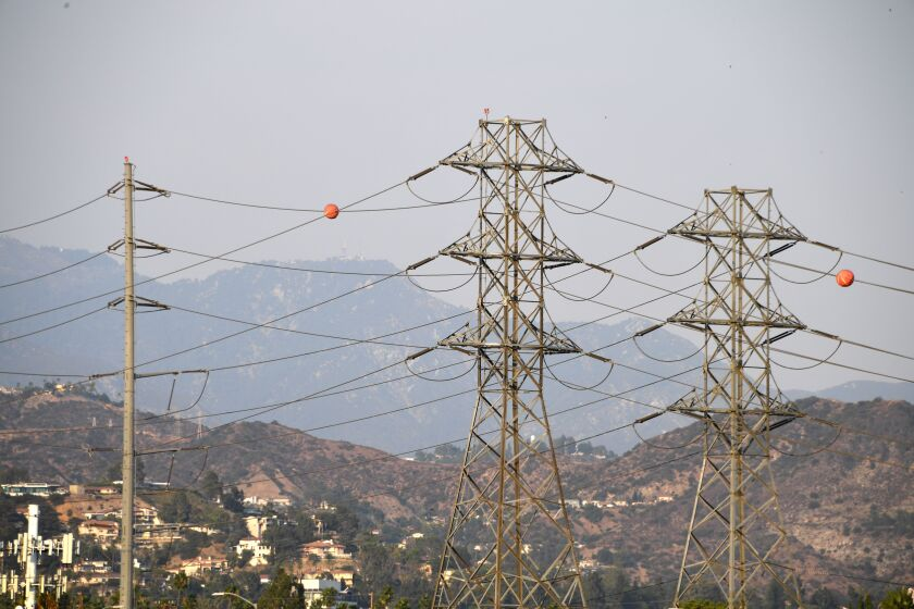 Power lines in Los Angeles during a triple-digit heat wave in mid-August.