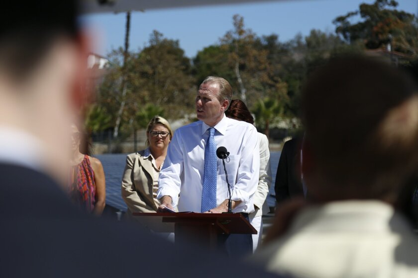 Mayor Kevin Faulconer releases a Climate Action Plan to create green jobs and significantly reduce greenhouse gases.  The Plan offers economic opportunity and provides road map for a clean San Diego.  Speaking to the media in front of the solar panels atop the City's Alvarado Water Treatment Plant